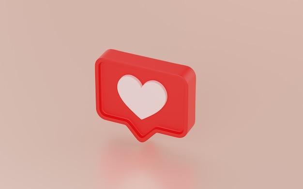 Icono de notificaciones de redes sociales, render 3d Foto Premium