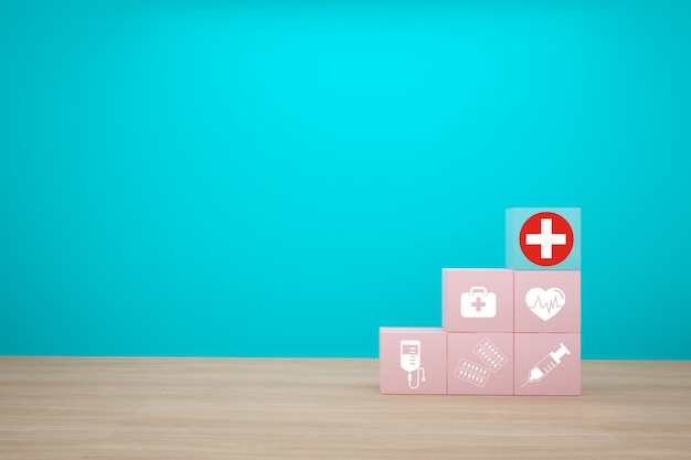 Idea de concepto mínima sobre el seguro médico y de salud, organizando el apilamiento de color de bloque con el icono de atención médica sobre fondo azul. Foto Premium