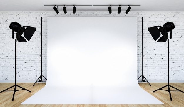 Iluminación de estudio fotográfico con fondo blanco. Foto Premium