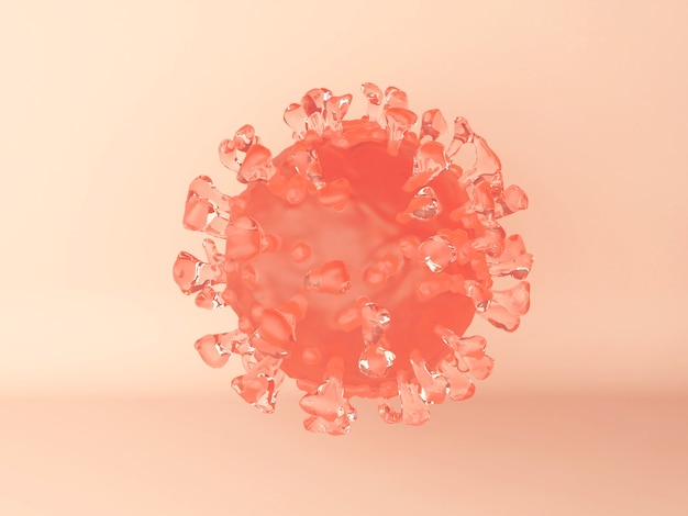 Ilustración 3d. una célula del virus del coronavirus en naranja. vista microscópica de un virus infeccioso. Foto gratis