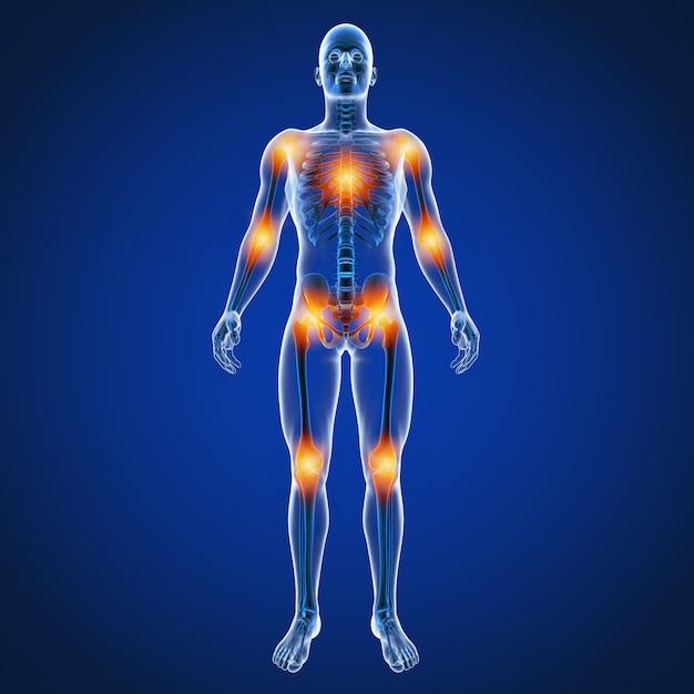 Ilustración 3d de dolor en las articulaciones masculinas de la espalda Foto Premium
