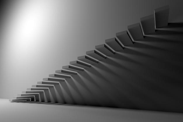 Ilustración 3d la escalera ascendente blanca sube en un cuarto blanco vacío. Foto Premium