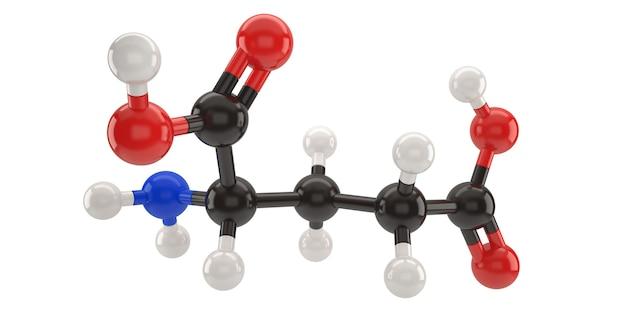 Ilustración 3d de la estructura de la molécula del ácido glutámico con trazado de recorte Foto Premium