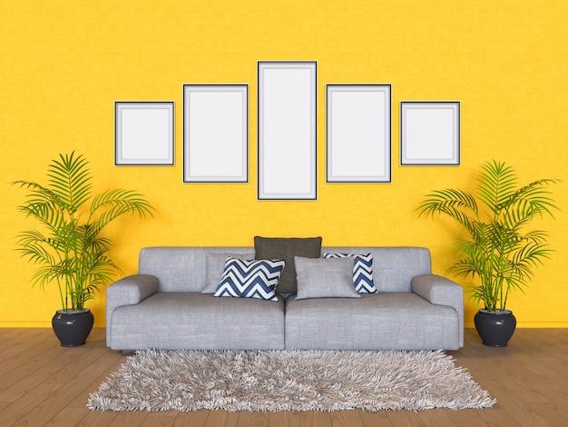 Ilustración 3d de una maqueta de diseño de interiores. Foto Premium