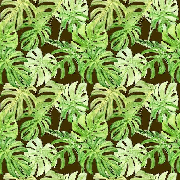 Ilustración acuarela de patrones sin fisuras de monstera de hoja tropical. perfecto como textura de fondo, papel de regalo, textil o diseño de papel tapiz. dibujado a mano Foto Premium