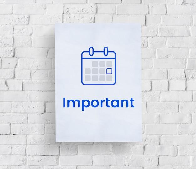 Ilustración del calendario organizador personal en la pared de ladrillo Foto gratis