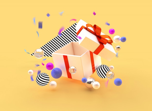 Ilustración de render 3d regalo de promoción de vacaciones bolas de la caja de la bandera Foto Premium