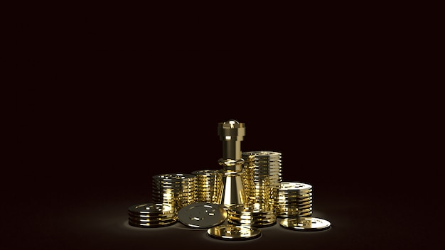 Imagen abstracta de ajedrez y monedas de oro representación 3d para contenido empresarial Foto Premium