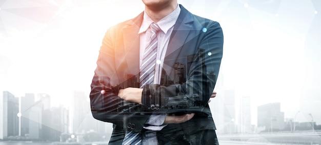 Imagen de doble exposición de una persona de negocios Foto Premium