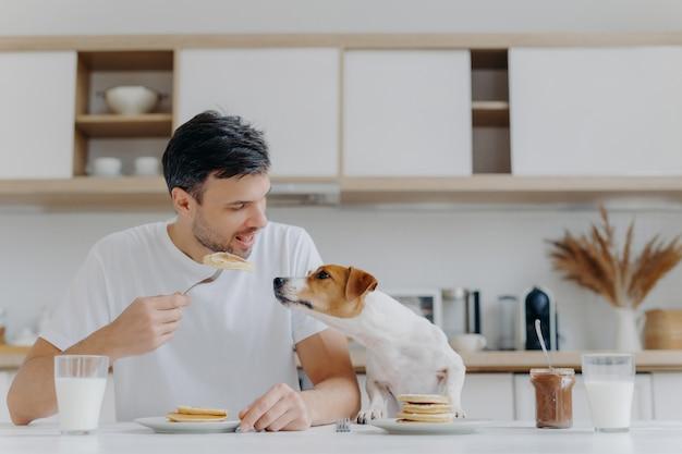 Imagen de guapo del hombre en camiseta blanca casual, come sabrosos panqueques, no comparte con el perro, posa contra el interior de la cocina, se divierte, bebe leche del vaso. concepto de tiempo de desayuno. postre dulce Foto Premium