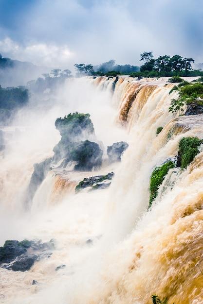 Imagen vertical de una cascada rodeada de vegetación cubierta de niebla bajo un cielo nublado Foto gratis