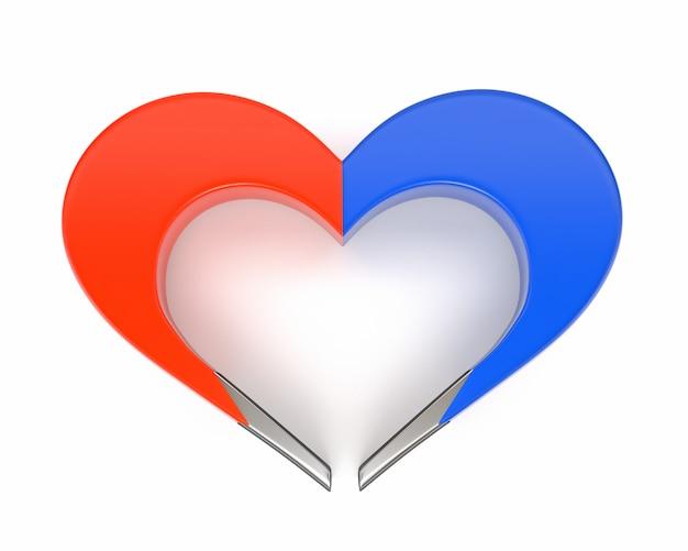 Imán del corazón aislado en el fondo blanco. el concepto de atraer el amor, la felicidad y las relaciones familiares. 3d ilustración Foto Premium