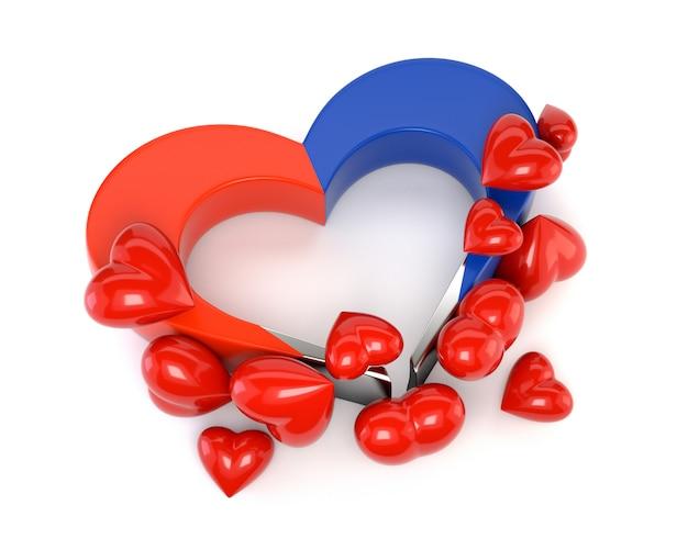 Imán del corazón aislado en el fondo blanco. la tarjeta en el día de san valentín. el concepto de afecto mutuo, una atracción romántica. 3d ilustración Foto Premium