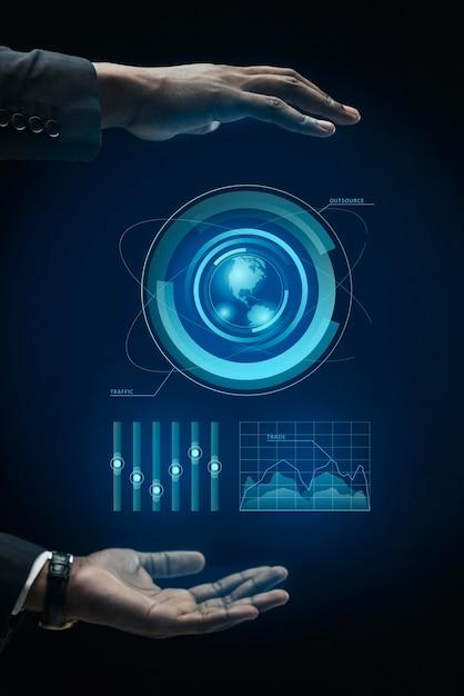 Infografías de negocios en holograma hechas por manos. Foto Premium
