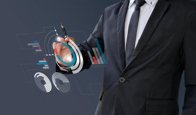 Información analítica del empresario financiera en pantalla digital. Foto Premium