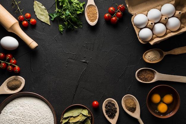 Ingrediente clasificado para cocinar Foto gratis