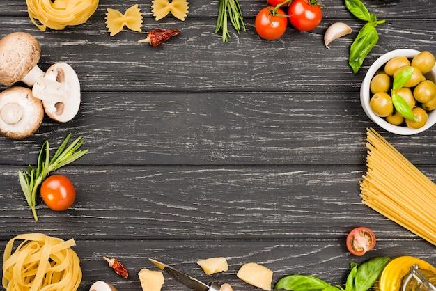 Ingredientes de comida italiana Foto gratis