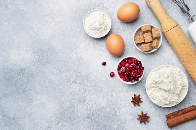 Ingredientes para hornear galletas, cupcakes y pasteles Foto Premium