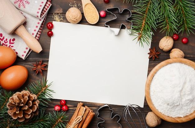Ingredientes de navidad para hornear Foto Premium