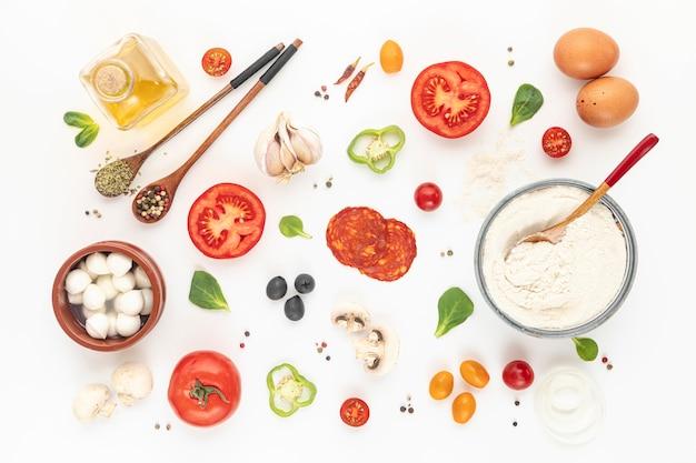 Ingredientes de pizza planos Foto Premium