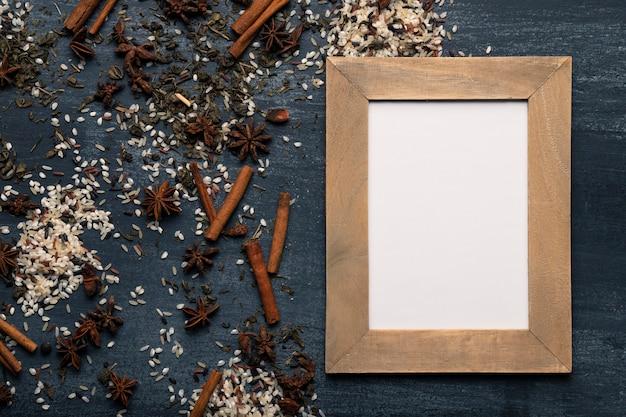Ingredientes de té asiático matcha con espacio para maquetas Foto gratis