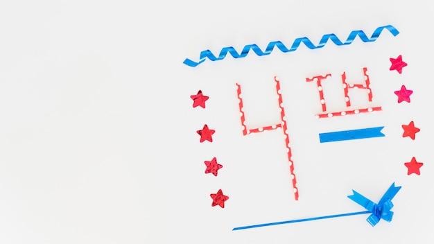 Inscripción 4ª y diseño festivo para el día de la independencia. Foto gratis