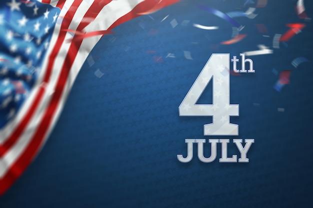 Inscripción el 4 de julio sobre un fondo azul Foto Premium