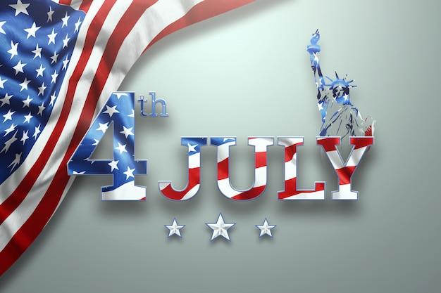 Inscripción el 4 de julio sobre un fondo claro. Foto Premium