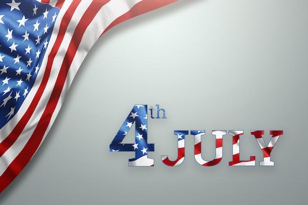 Inscripción el 4 de julio sobre fondo de madera para el día de la independencia de estados unidos. Foto Premium