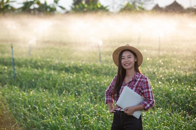 Inspección de calidad de jardines aromáticos por agricultores. Foto gratis