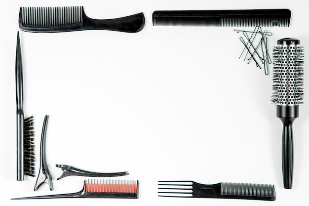 Instrumentos de peluquería vista superior. Foto Premium