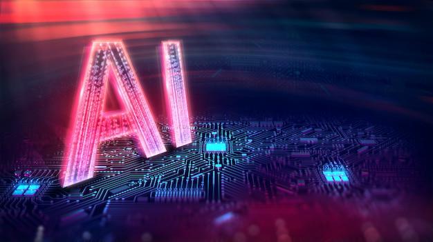 Inteligencia artificial. (ai), aprendizaje de máquina, tecnología y concepto de ingeniería. Foto Premium