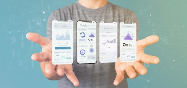 Interfaz de usuario de la interfaz de la aplicación en un teléfono inteligente - representación 3d Foto Premium