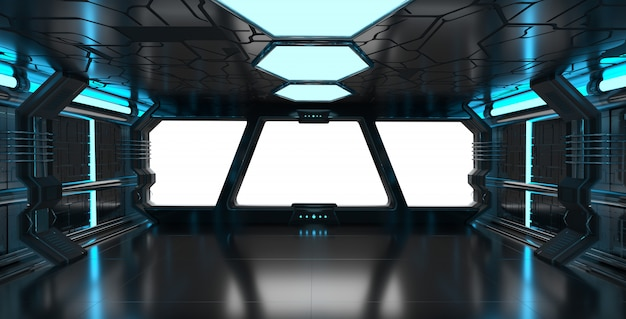 Interior De Ventana De Nave Espacial: Interior Azul De La Nave Espacial Con Elementos De
