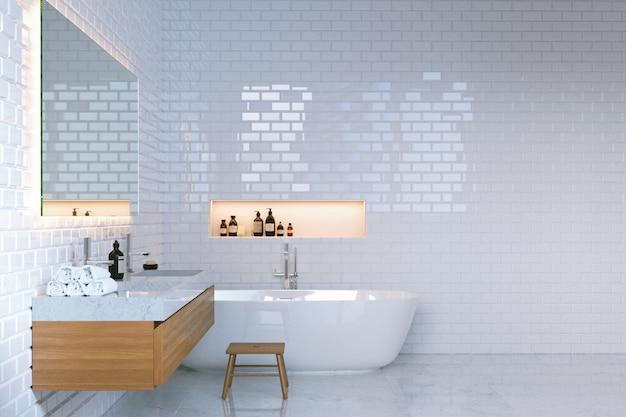 Interior de baño minimalista de lujo con paredes de ladrillo. Foto Premium