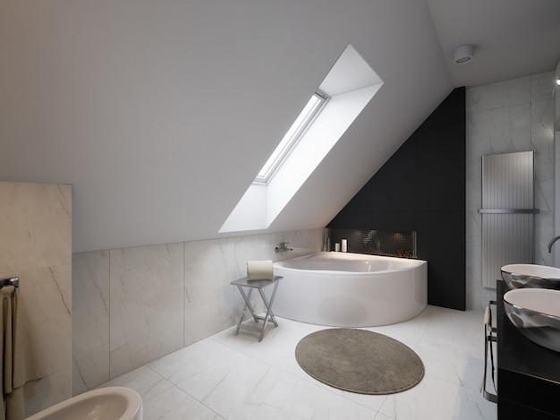 Interior de baño moderno con lavabo e inodoro. Foto Premium