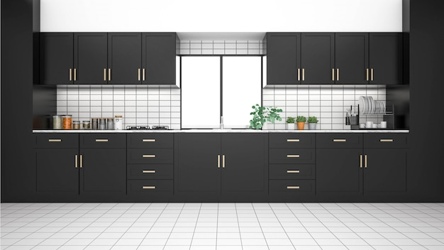 Interior de la cocina moderna con muebles. Foto Premium