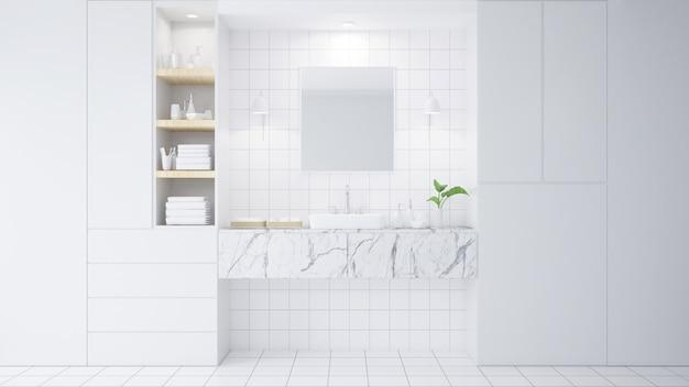 Interior del cuarto de baño con pared blanca, muebles ...