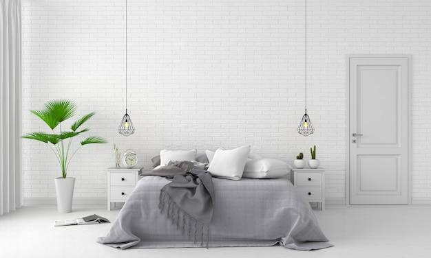 Interior de dormitorio blanco para maqueta Foto Premium