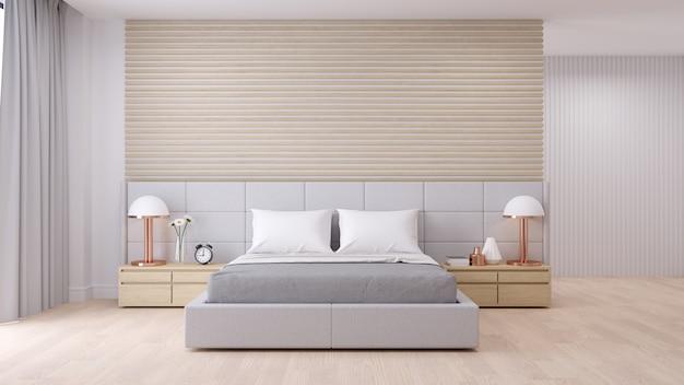 Interior de dormitorio con estilo minimalista moderno. Foto Premium