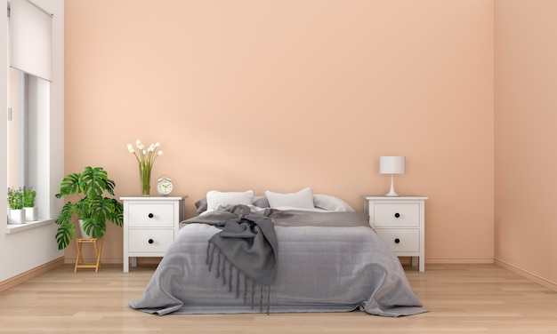 Interior del dormitorio, renderizado 3d Foto Premium