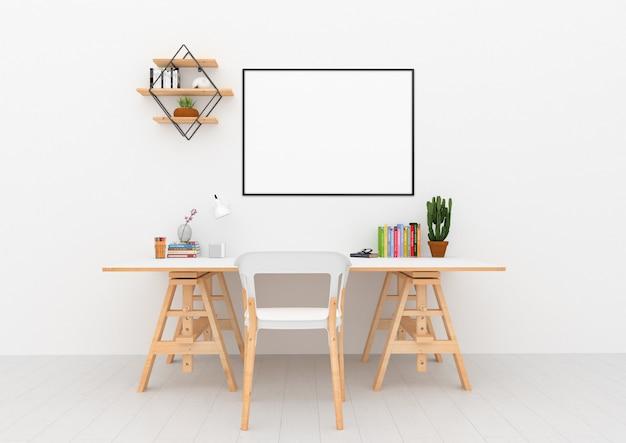 Interior escandinavo - área de escritorio con marco horizontal Foto Premium