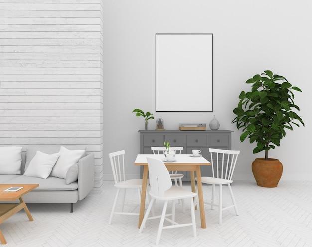 Interior escandinavo - marco vertical vacío Foto Premium