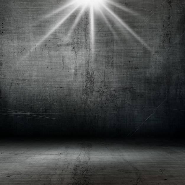 Interior de estilo grunge 3d con reflector que brilla hacia abajo Foto gratis