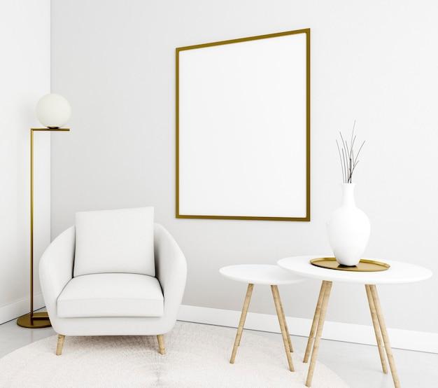 Interior minimalista con elegante estructura y sillón. Foto gratis