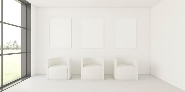 Interior minimalista con elegante estructura y sillones. Foto gratis