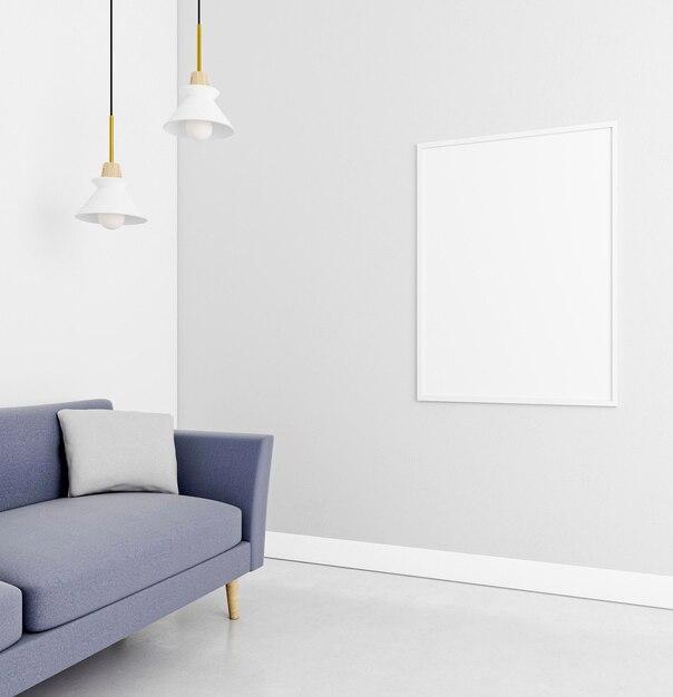 Interior minimalista con elegante marco y sofá. Foto gratis