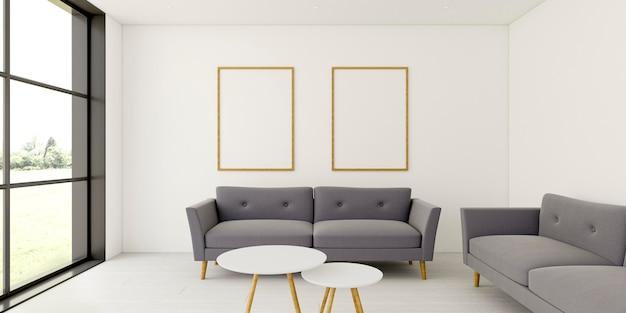 Interior minimalista con elegantes marcos y sofá. Foto Premium