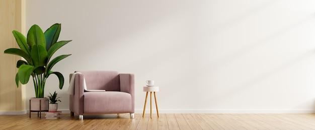 Interior minimalista moderno con un sillón en la pared blanca vacía. representación 3d Foto gratis
