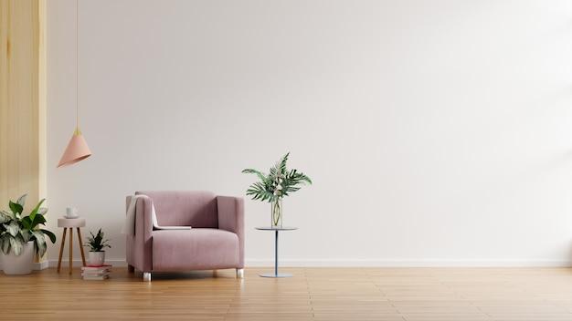 Interior minimalista moderno con un sillón en la pared blanca vacía representación 3d Foto gratis